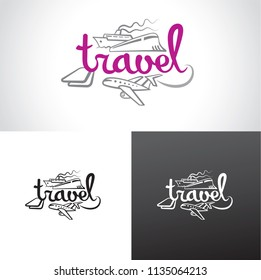 illustration of graphic sign and logo for travel resort agency