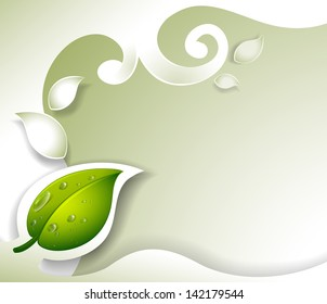 Illustration of a gray stationery with a leaf on a white background