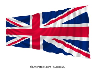 Illustration of Great Britain flag waving in the wind