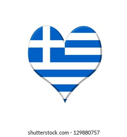 Illustration with a Greece heart on white background.
