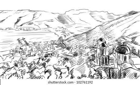 illustration the greek town - sketch