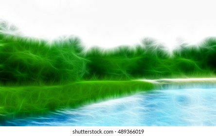 Illustration of green forest on the lake