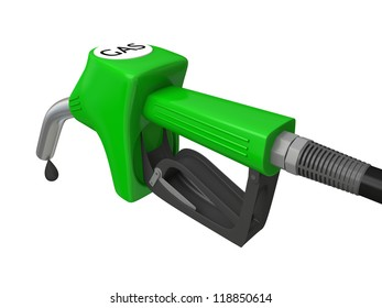 Illustration of green fuel pump nozzle with oil drop isolated on white background