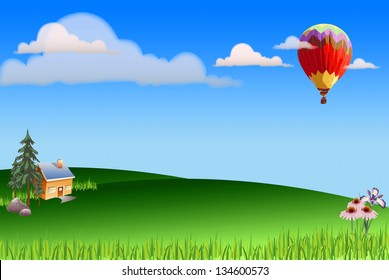Illustration of green landscape with hot air balloon, clouds, flowers and house
