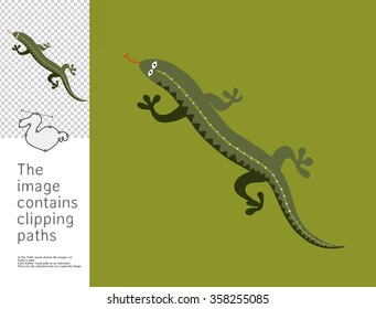 The illustration of the green lizard.  A part of Dodo collection - a set of educational cards for children. The image has clipping paths and you can cut the image from the background.