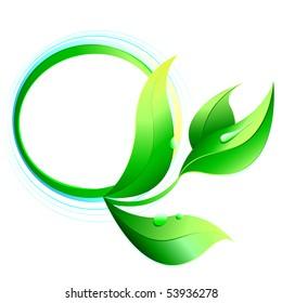 illustration: green plant on green circle