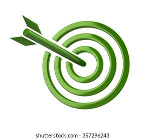 Illustration of green target isolated on white background