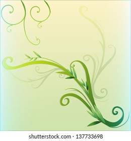 Illustration of a green vine leaf border design