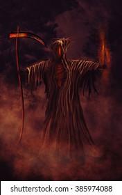 Illustration of a Grim Reaper or fantasy evil spirit. Digital painting.