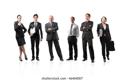 Illustration of a group of businessmen and businesswomen