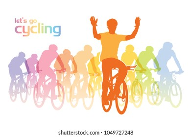 Illustration of a group of cyclist on the bicycle tour.