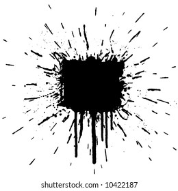 Illustration of a grunge ink splatter design element. Explosion.