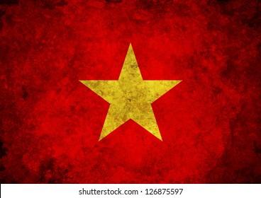 Illustration of a grunge Vietnam Flag