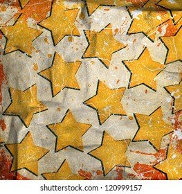 illustration of grunge wall with drawn glowing stars