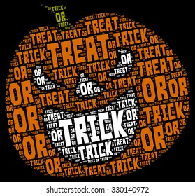 illustration of Halloween concept  word cloud in a pumpkin shape