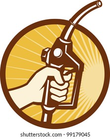 Illustration of a hand holding a gasoline petrol fule nozzle pump done in retro style set inside circle.