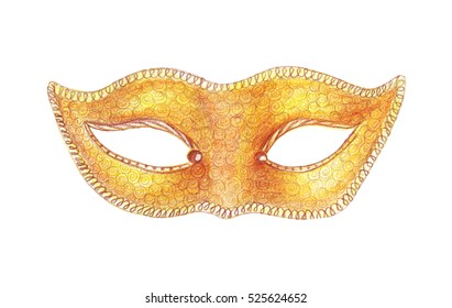 Illustration hand painted carnival masks with various designs and patterns