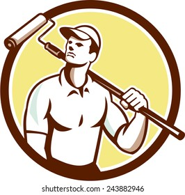 Illustration of a handyman house painter holding paint roller on shoulder set inside circle on isolated background done in retro style.