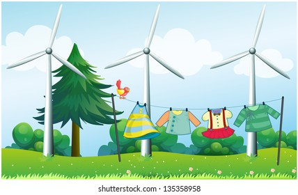Illustration of the hanging clothes in front of the windmills