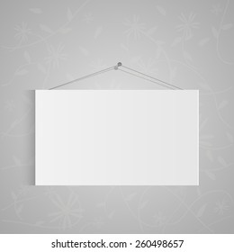 Illustration of a hanging sign isolated on a gray background.