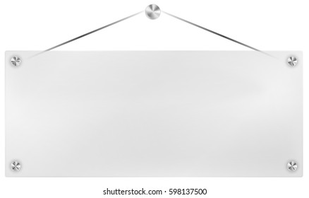 Illustration of Hanging Transparent Plexi Signboard on Black Background