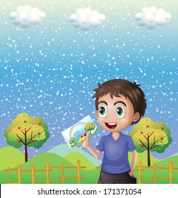 Illustration of a happy child holding a picture with a rainbow