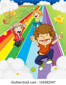 Illustration of the happy children at the colorful road