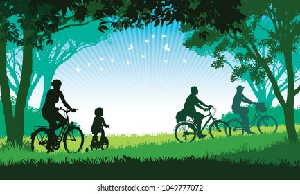 Illustration of a happy family cycling on a summer trip in the park.
