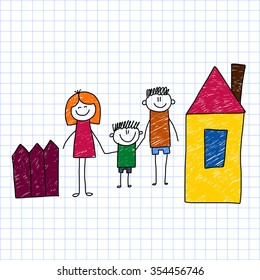 Illustration of happy family. Kids drawing style image.