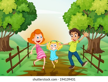 Illustration of a happy family at the woods