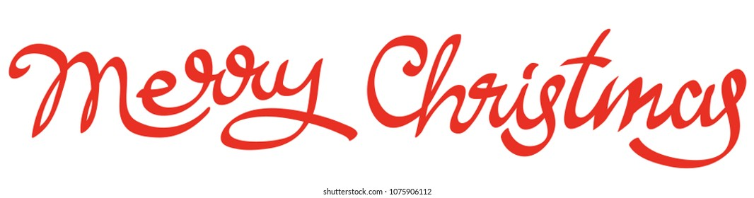 illustration of happy merry christmas calligraphy lettering