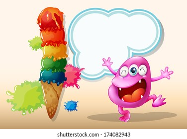 Illustration of a happy pink beanie monster near the giant icecream
