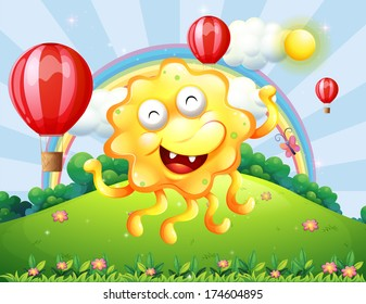 Illustration of a happy yellow monster at the hilltop with a rainbow and floating balloons