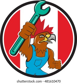Illustration of a hawk mechanic raising up pipe spanner set inside circle with Canada flag in the background done in cartoon style.