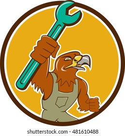 Illustration of a hawk mechanic raising up pipe spanner set inside circle on isolated background done in cartoon style.