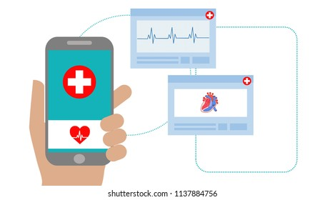 Illustration of healthcare app on a smartphone and professional medical team connected: online medical consultation concept