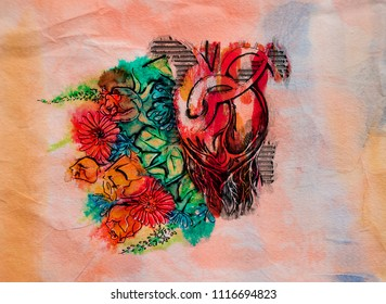 illustration of heart and flowers on texture
