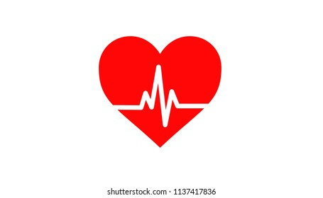 Illustration of heart in isolated background with cardiogram pulse.