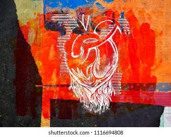 illustration of heart on texture wall