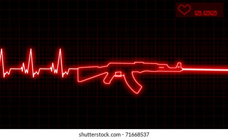 illustration of the heartbeat and automatic rifle