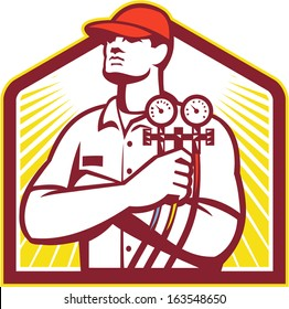 Illustration of a heating and cooling technician or refrigeration and air conditioning mechanic holding a pressure temperature gauge front view inside shield on isolated background done retro style.