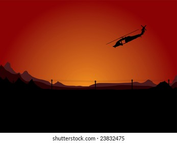 Illustration of a helicopter on night patrol in an arid desert