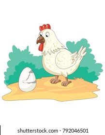 Illustration of hen with egg