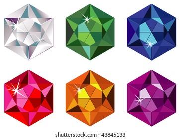 Illustration of hexagon cut precious stones with sparkle isolated on white. Vector version is available.