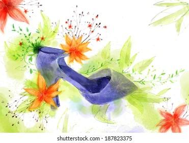 Illustration of high heel shoe