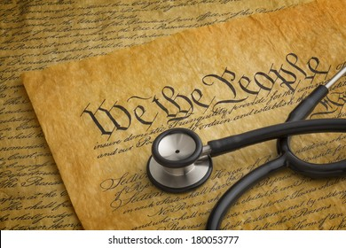Illustration to highlight the relationship between the United States Constitution and health care rights or lack thereof.