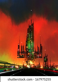 Illustration of a highway leading to a huge, green-coloured futuristic industrial building surrounded by a landscape of lights, pipes, antennae and masts with a red sky as a backdrop.