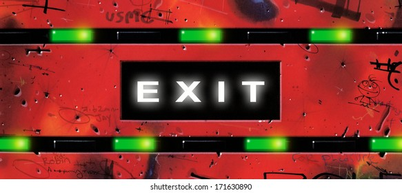 Illustration of a highway or motorway exit sign with the word EXIT surrounded by small, green lights and graffiti-covered metal.