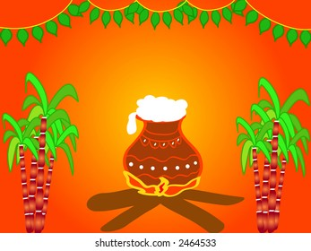 Illustration of a Hindu festival Pongal design with cooking pot , sugarcane and decorative mango leaves - Harvest festival celebrated in January