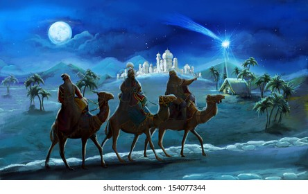 The illustration of the holy family and three kings -  traditional scene - illustration for the children